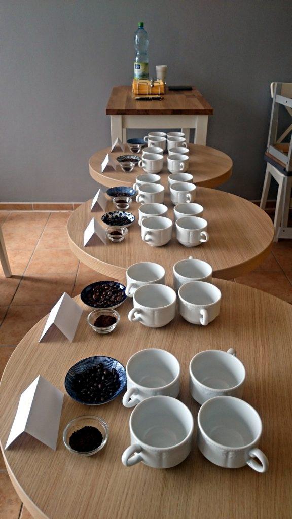 Kaffee Cupping Setup