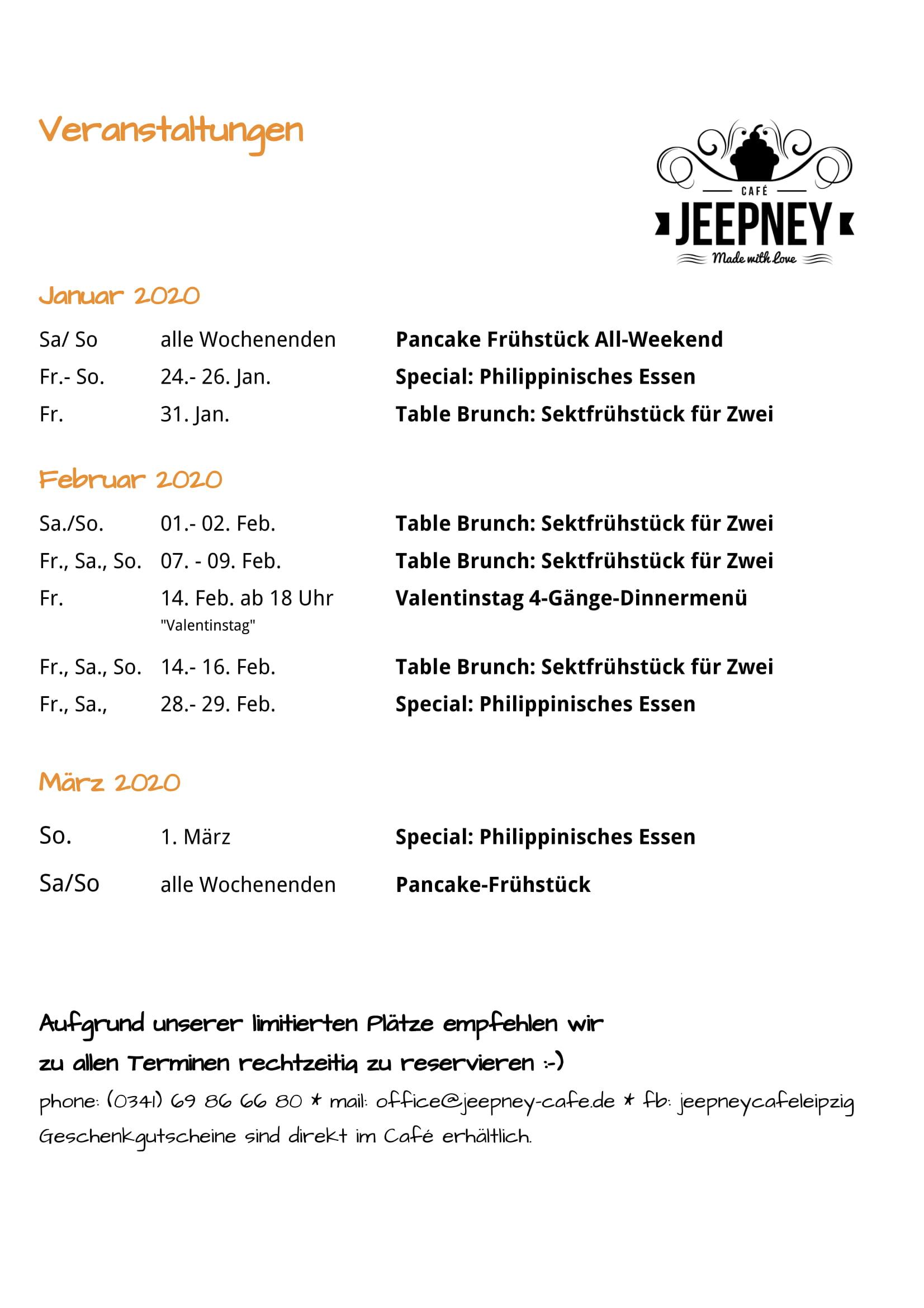 Veranstaltungen Januar 2020
